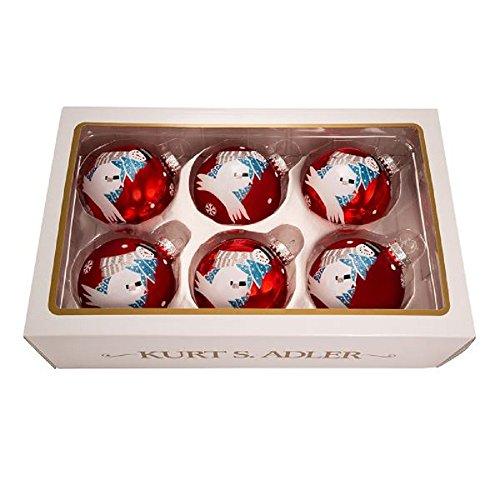 Snowman Glass Ball - Kurt Adler 80MM Glass RED Balls W/Snowman 6PC