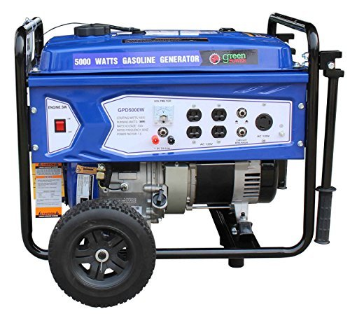 Green-Power America GPD5000W 5000W Gasoline Generator, Green/Black