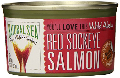 Natural Sea Wild Alaskan Red Sockeye Salmon, No Salt Added, 7.50-Ounce by Natural Sea