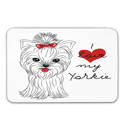 Yorkie Front Door Mat,I Love My Yorkie Cute Terrier with its Tounge Out Adorable Yorkshire Terrier Doormat for Inside or Outside,23.6
