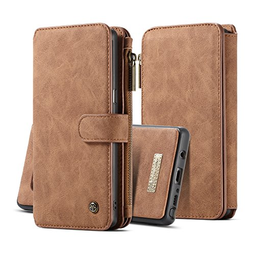 Accessory Package - CaseMe Samsung Galaxy Note 8 Wallet Case with Detachable Slim TPU PC Case,Luxury Handmade,TRIFOLD Leather,Original Package,Brown