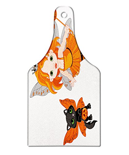 Lunarable Halloween Cutting Board, Halloween Baby Fairy and Her Cat in Costumes Trick Butterflies Girls Kids Design, Decorative Tempered Glass Cutting and Serving Board, Wine Bottle Shape, (Original Halloween Costume Ideas For Babies)