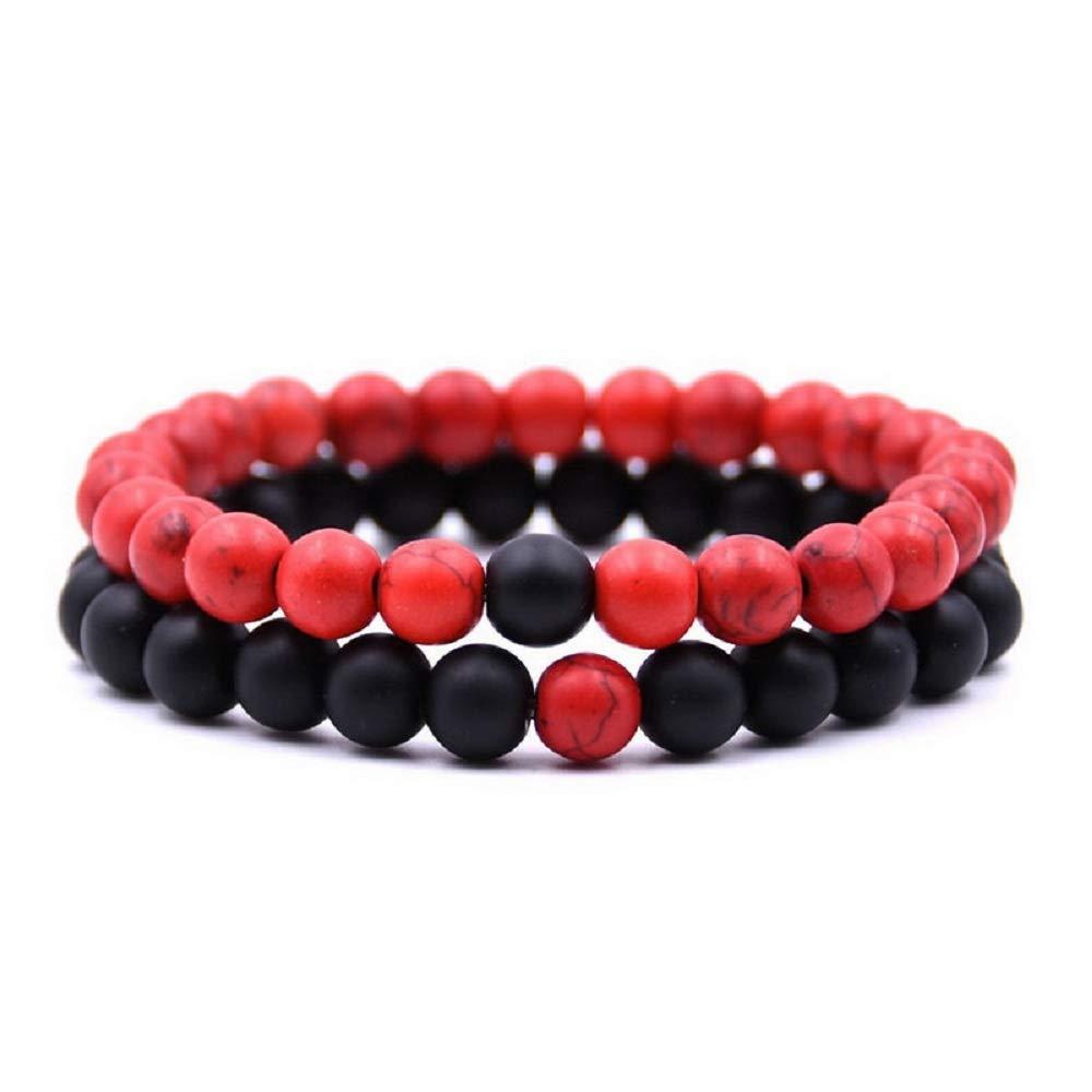 MJartoria Distance Relationship Bracelet Stretch Stone Beads Hers and His Couple Bracelet (Style 4)