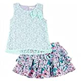 Self Esteem Little Girls' Lace Layered Top Tiered Butterfly Scooter Set (6)