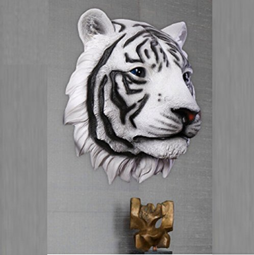 Sulin Large Wall Mountable Tiger Head Hanging Ornament Decoration Realistic Display,Black ()