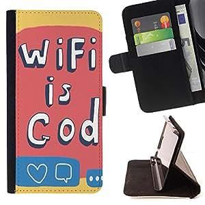 King Case - FOR Sony Xperia Z2 D6502 - Wifi is god - Prima caja de la PU billetera de cuero con ranuras para tarjetas, efectivo Compartimiento desmontable y correa para la mu?eca