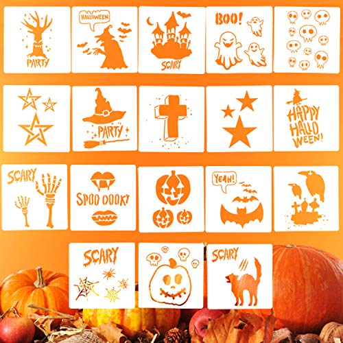 LOCOLO 18 Pieces Halloween Stencils Set, 5.3 x 5.3 Inches Halloween Symbol Plastic Drawing Templates - Ghost,Pumpkin Lantern,Witch,Bat,Haunted House,Spider,Black Cat