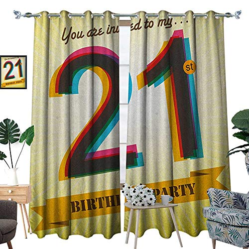 Warm Family 21st Birthday Blackout Window Curtain Invitation to an Amazing Birthday Party on a Golden Colored Backdrop Image Customized Curtains W84 x L96 Multicolor -