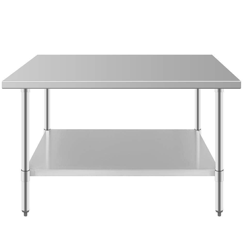 30 x 48 in Stainless Steel Prep Work Table Approved Kitchen Restaurant NSF Food Table with Undershelf Durable 2 Layers Adjustable and Sturdy Corrosion and Rust Resistance for Home Business