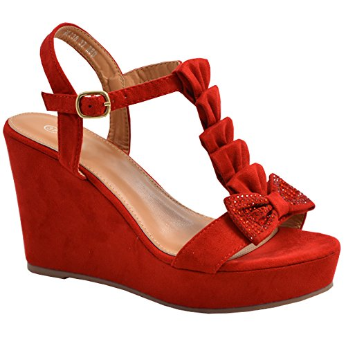 Cucu Fashion New Womens Ladies Ankle Strap Peep Toe Bow Studded Wedge Platforms Sandals Shoes Red