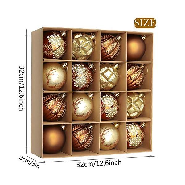Valery Madelyn Palle di Natale 16 Pezzi 8cm Palline di Natale, Rame da Bosco e Oro Infrangibile Palla di Natale Ornamenti Decorazione per la Decorazione Dell'Albero di Natale 2 spesavip