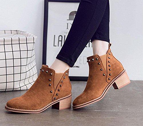 MEILI Zapatos de mujer, botas de mujer, ásperos con, además de cachemira, botas, remaches, cuadrados, elásticos, tallas grandes, casual, moda dark brown