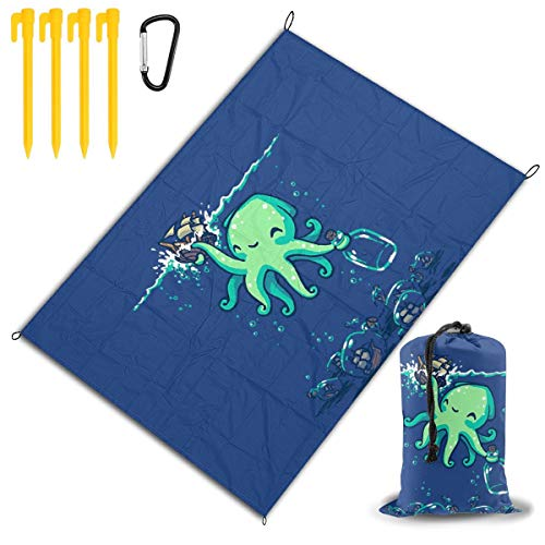 LHLX HOME Sailboat Collector Octopus in Navy Picnic Blanket Handy Beach Mats with Waterproof Backing Anti Sand for Picnics, Beaches, Camping and Outings 78x57 ()