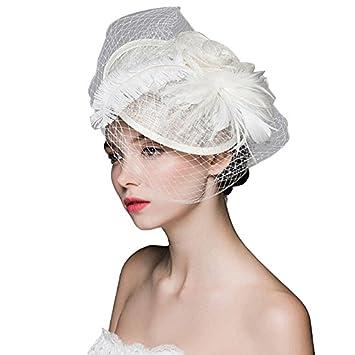Amazon.com   BININBOX Brides Fascinator Feather Birdcage Veil Headpiece  Wedding Party Ivory Top Hat   Beauty 1ca14756b01