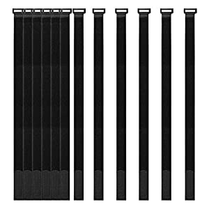 """[12 Pack] 1 x 24"""" Hook and Loop Reusable Fastening Securing Cable Straps by YiwerDer - Durable Multipurpose Ties to Keep Your Places Tidy"""