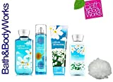 Bath & Body Works COTTON BLOSSOM Deluxe Gift Set Lotion ~ Cream ~ Fragrance Mist ~ Shower Gel + & FREE Shower Sponge Lot of 5