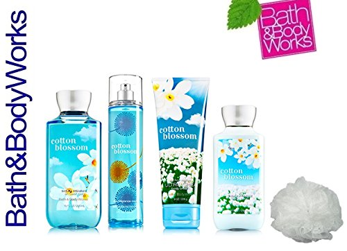 Bath & Body Works COTTON BLOSSOM Deluxe Gift Set Lotion ~ Cream ~ Fragrance Mist ~ Shower Gel + & FREE Shower Sponge Lot of 5 by Bath & Body Works