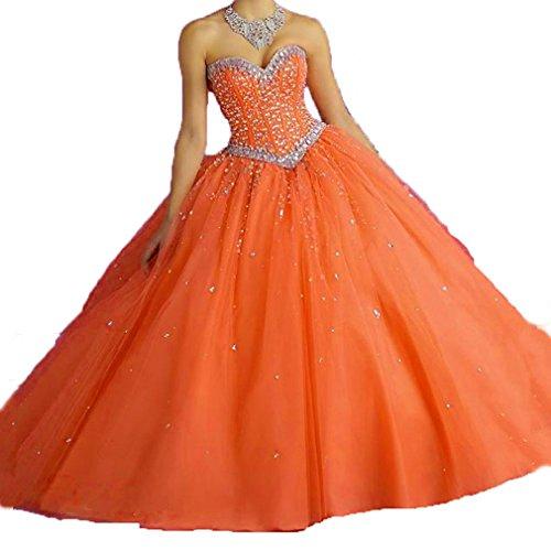 Cristaux Dearta Sequins Femmes Robes De Soirée En Tulle Robe De Bal Robes Orange Rose