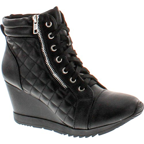 Forever Adriana12 Women Sporty Leatherette Lace-Up High Top Wedge Sneaker Bootie Shoes,Black_A-12,10