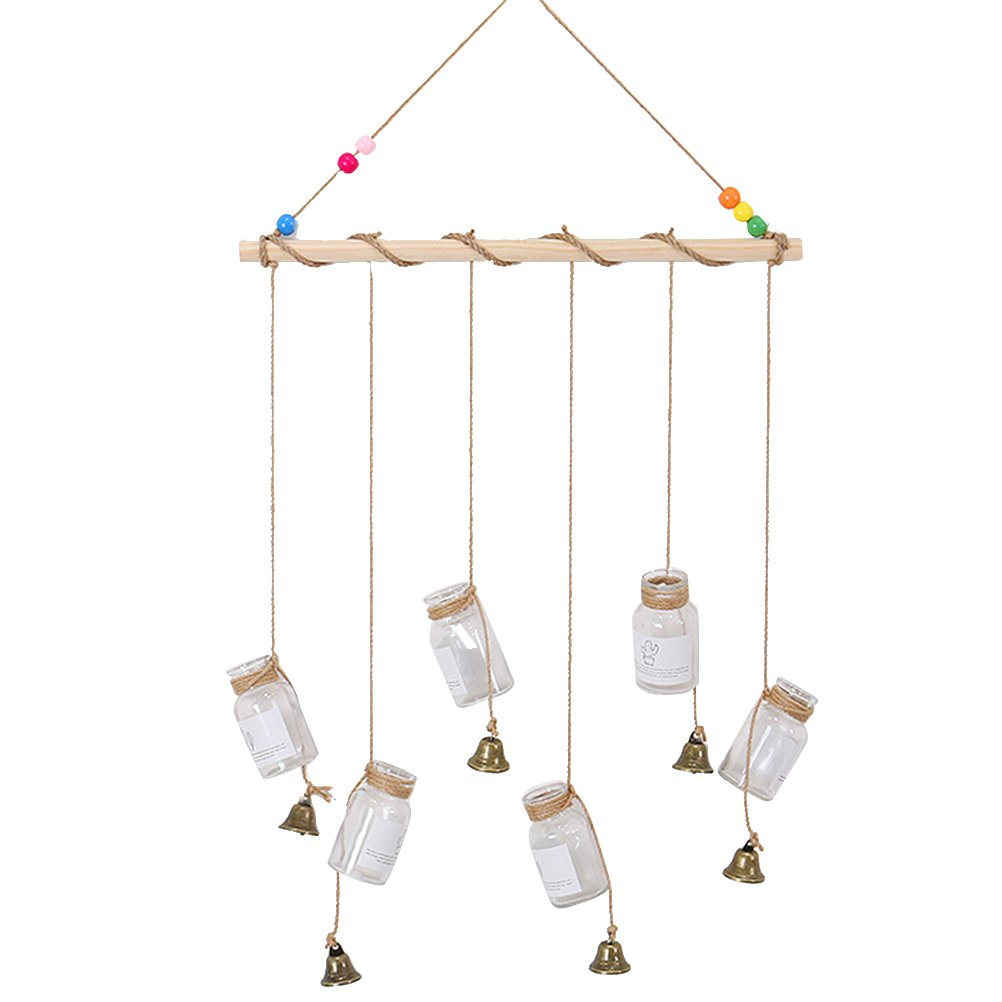 VORCOOL Hanging Glass Bottle Small Bell Display Macrame Wall Hanging Pictures Organizer Home Decor