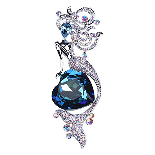 Swarovski Crystal Bouquet Jewelry - Luxury Sea Heart Mermaid Crystal Brooches, June Sky SWAROVSKI Rhinestone Brooch Breast pin for Women Girls Clothes Outfits Anniversary Jewelry Gift Collection Decoration