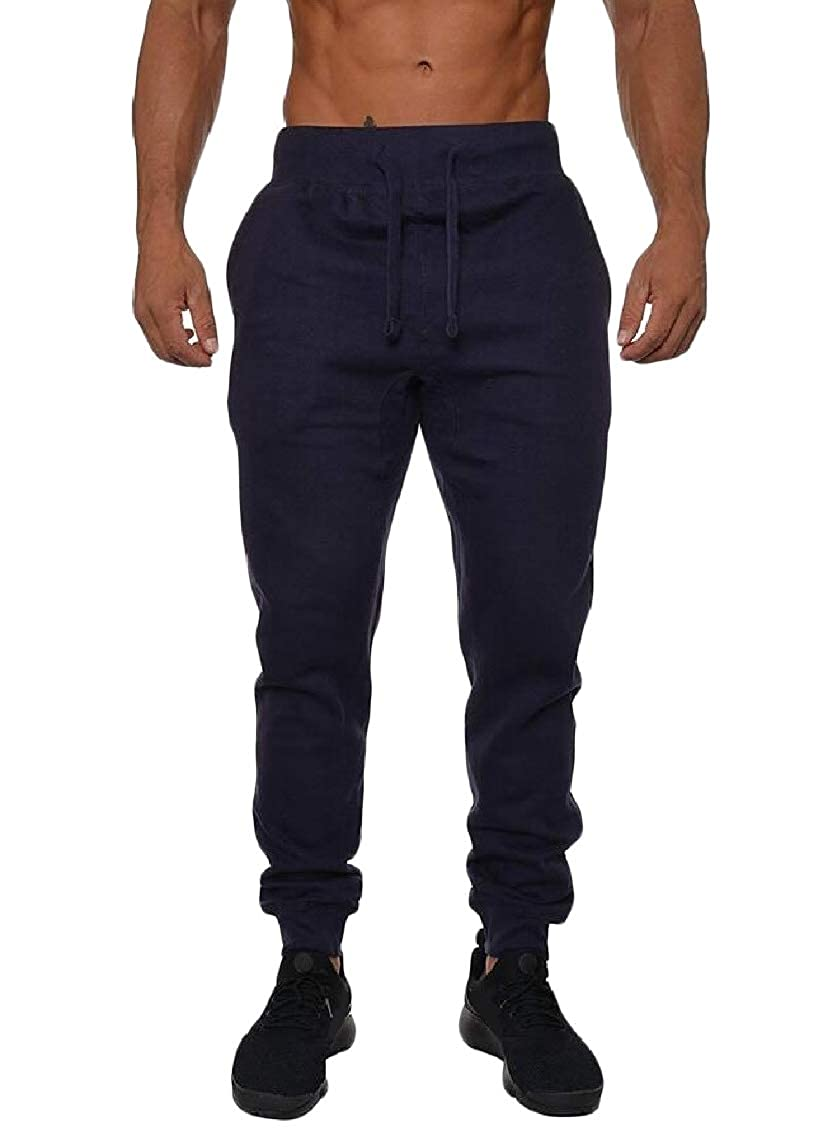 Sweatwater Men Elastic Waist Workout Trousers Fitness Solid Pants