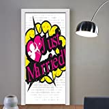Niasjnfu Chen custom made 3d door stickers Wedding Pop Art Style Design Cupid Bow Arrow Love in the Air Just Married Retro Multicolor For Room Decor 30x79