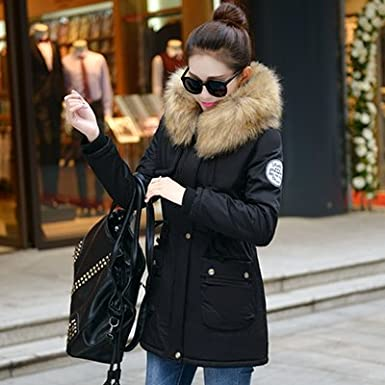 Amazon.com: 2017 New Winter Jacket Women Faux Fur Coat With Hood Winter Jacket Thicken Solid Female Military Long Parka Abrigos Plus Size: Clothing