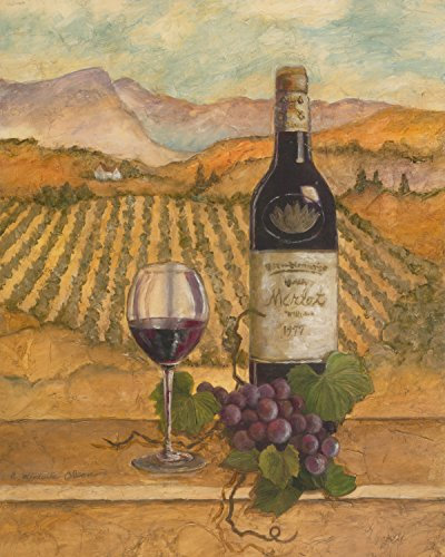 Merlot Wine Grapes with Vineyards Painting Wall Picture Art Print ()
