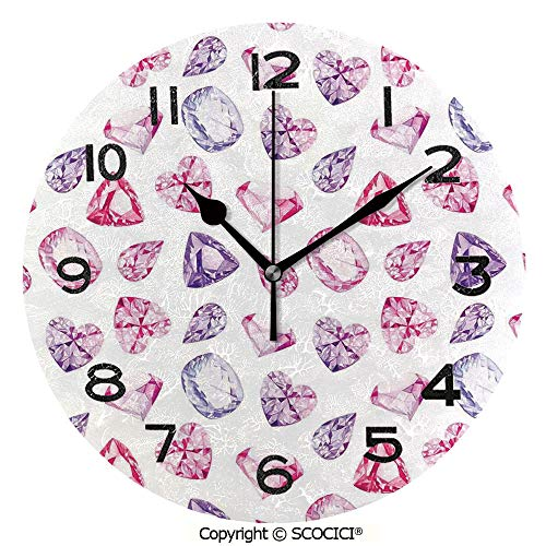 SCOCICI 10 inch Round Clock Amethyst Heart and Triangle Shaped Diamonds Hanging Prints Art Decorative Unique Wall Clock-for Living Room, Bedroom or Kitchen Use
