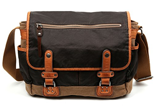 The Same Direction Tapa Two Tone Messenger Bag Canvas and Leather Bag (Brown)