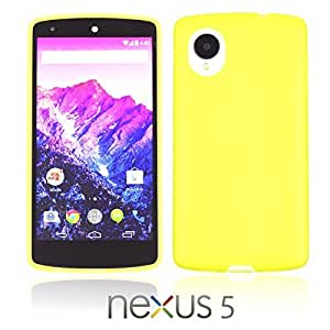 OnlineBestDigital - Colorful Transparent Case with White Outlet for Google Nexus 5 Phone - Yellow with 3 Screen Protectors