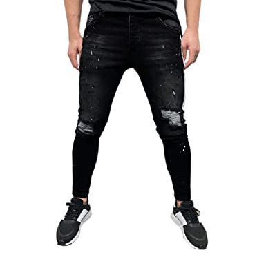 Amazon.com: Creazrise Mens Ripped Destroyed Jeans Slim Fit ...