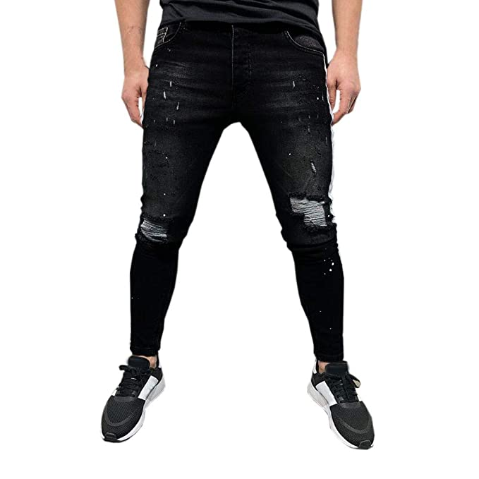 Overmal Mens Stretch Denim Pant Distressed Ripped Freyed ...
