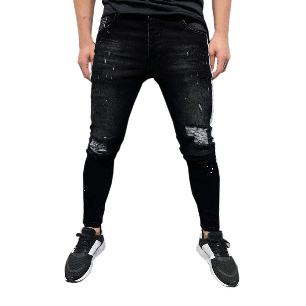 aiNMkm Mens Stretch Denim Pant Distressed Ripped Freyed Slim Fit Printed Jeans Trousers,Black,M