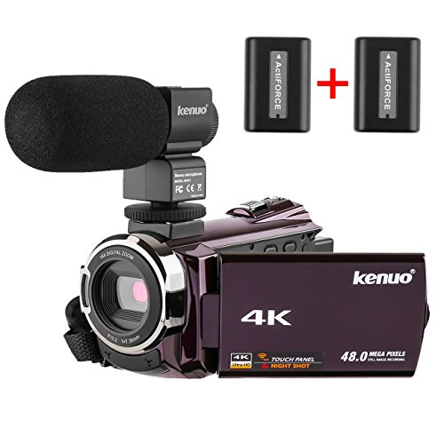 Kenuo 4K Camcorder, 48MP Portable Ultra-HD 30FPS WiFi Digital Video Camera 3.0″ Touch Screen IR Night Vision Camcorder with External Microphone