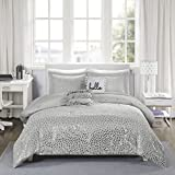 Purple and Silver Bedding Sets Intelligent Design Zoey Metallic Triangle Print Ultra Soft Hypoallergenic Microfiber Comforter Set Bedding, Full/Queen Size, Grey/Silver 5 Piece