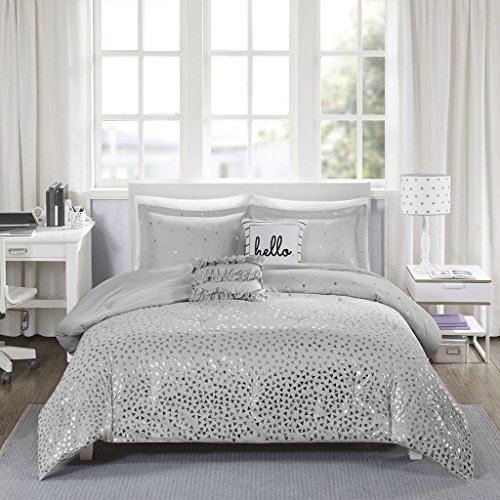 (Intelligent Design Zoey Metallic Triangle Print Ultra Soft Hypoallergenic Microfiber Comforter Set Bedding, Full/Queen Size, Grey/Silver 5 Piece )