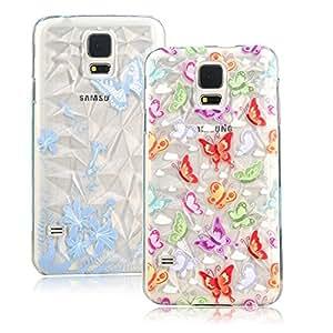 BestCool 2x Plástico Protective Case Funda Cover para Samsung Galaxy S5 I9600 I9605 Funda Cáscara Caso Cubrir Carcasa trasera parachoques duro Case - colorido mariposa Diseño