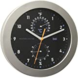 Bai Designer Weather Station Wall Clock, Black