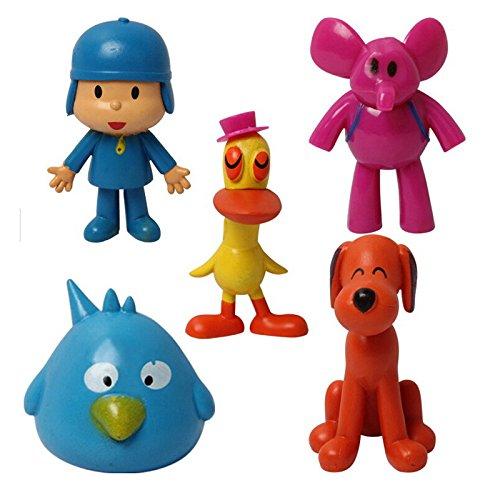 Pocoyo and Friends Mini Figures Play Set Birthday Party Supplies Pato, Elly, Loula, and Sleepy Bird Toy – 5 pcs – 5 to 9 cm by Abbros
