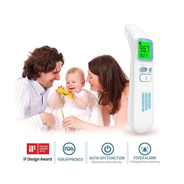 Thermomètre Infrarouge Thermomètres Auriculaires sans Contact Thermomètre Frontal Numérique avec écran LCD, Alarme de…