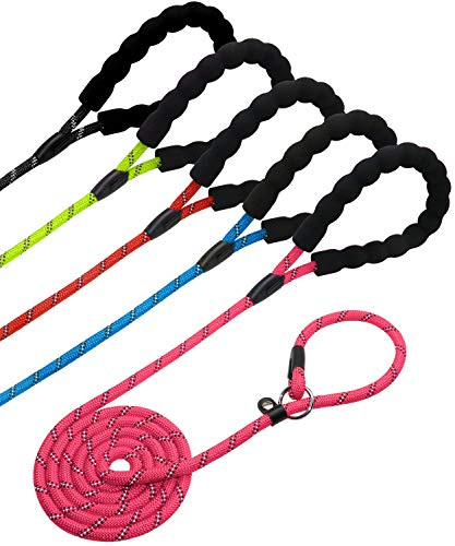 Cinch Leash - Joytale Slip Rope Dog Leash - Durable Mountain Climbing Rope Training Leads for Small Medium Large Dogs - 3/8 inch by 6 Feet - Pink