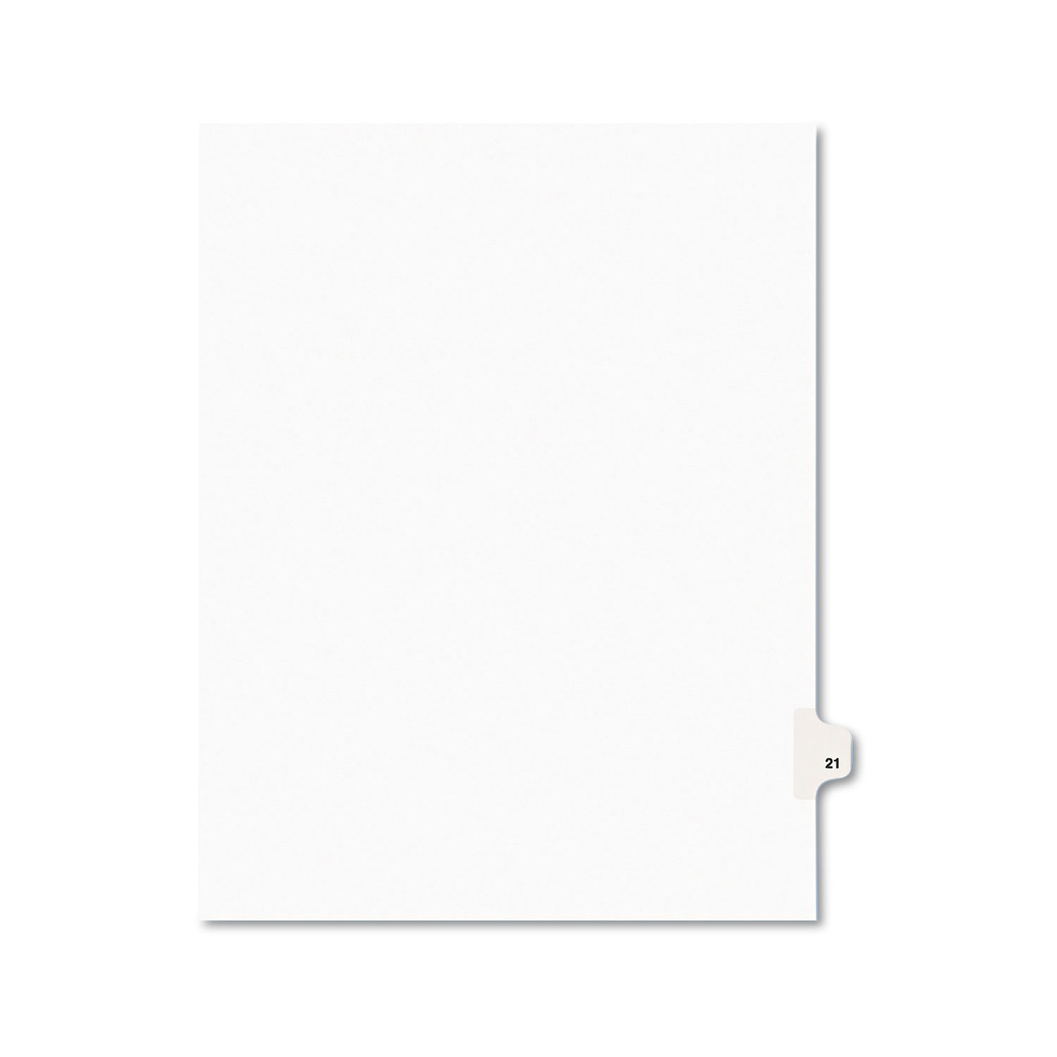 Avery 01021 Legal Exhibit Side Tab Divider, Title: 21, Letter Size, White 25/PK AVERY-DENNISON-KNM