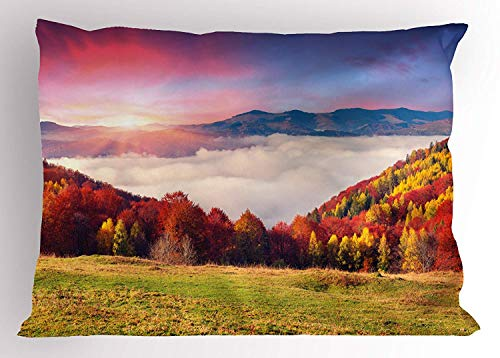 (K0k2t0 Autumn Pillow Sham, Fall with Colorful Leaves Mountains Sunset Ukraine Europe, Decorative Standard Queen Size Printed Pillowcase, 30 X 20 inches, Khaki Dark Orange Green Pale Mauve)