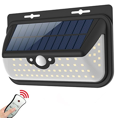 SunCaptor Solar Motion Sensor Light 68 LED, Waterproof, Remote control, 800 LM Super Bright Wide Angle Security Lamp for Wall, Driveway, RV ,Patio, Yard, Garden (One Pack)