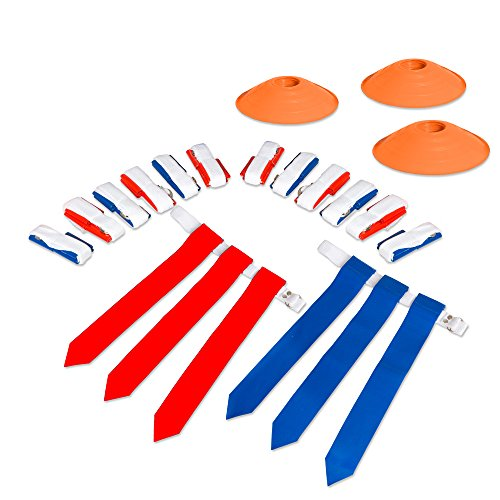 (14 Player Flag Football Deluxe Set - 14 Belts, 42 Flags, 12 Cones & 1 Mesh Carrying Bag for Flag)