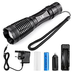 le 1000lm led torch zoomable tactical flashlights 18650 rechargeable battery and charger
