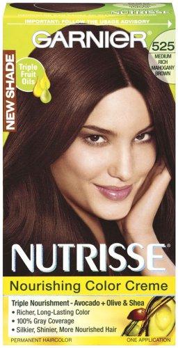 Garnier Nutrisse Couleur de cheveux permanente, 525 milieu riche Mahogany Brown