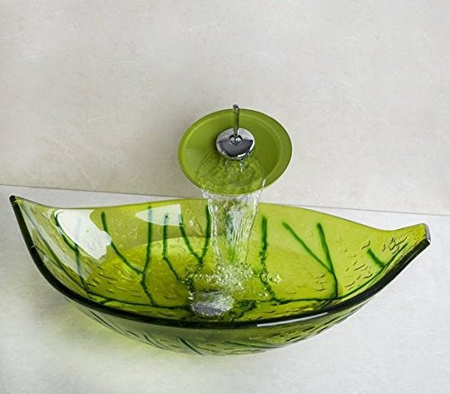 GOWE Leaf Hand Painted Green Leaf Tempered Glass Vessel Sink +Waterfall Chrome Faucet+Pop Up Drain Bathroom Sink Set by Gowe